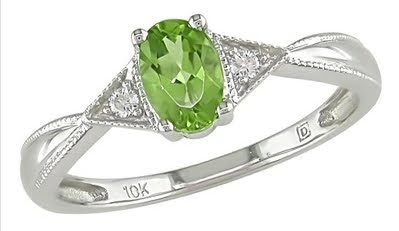 Oval Peridot Ring with Diamond Accents