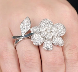Two Finger Ring CZ Flower