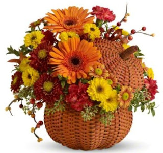 Teleflora's Wicker Pumpkin Bouquet