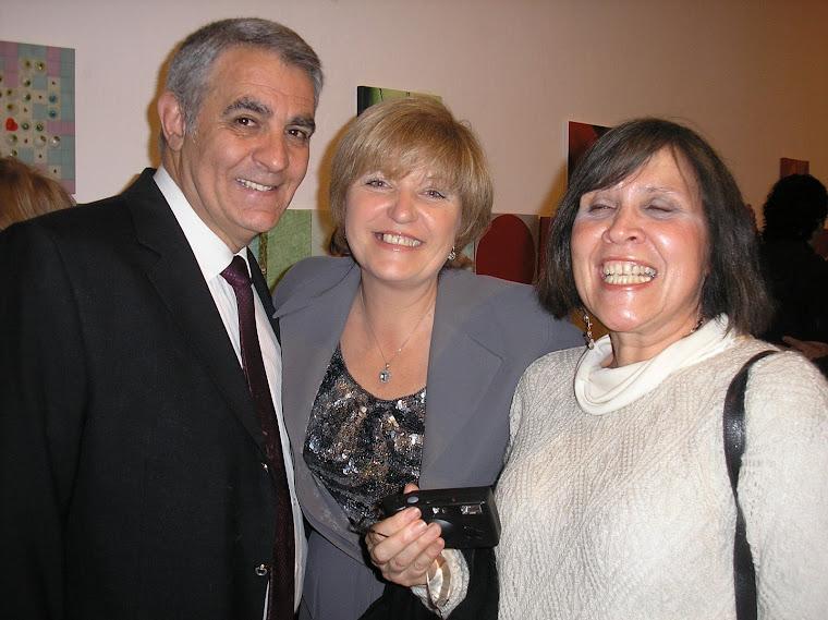 Expositoras Marika Corti (con marido) y Cristina Morandin