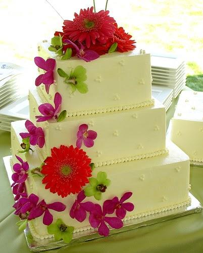 Unusual Square Wedding Cake Pictures 3 Tier Fresh Flower Wedding Cake