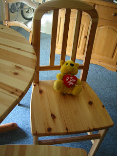 See They Match Totally With Our Table. Even Our Teddy Bear Said It Was A  Good Deal. Hey 49 Euros For 4 Wooden Chairs, Not Bad At All, Plus They Look  New!!!