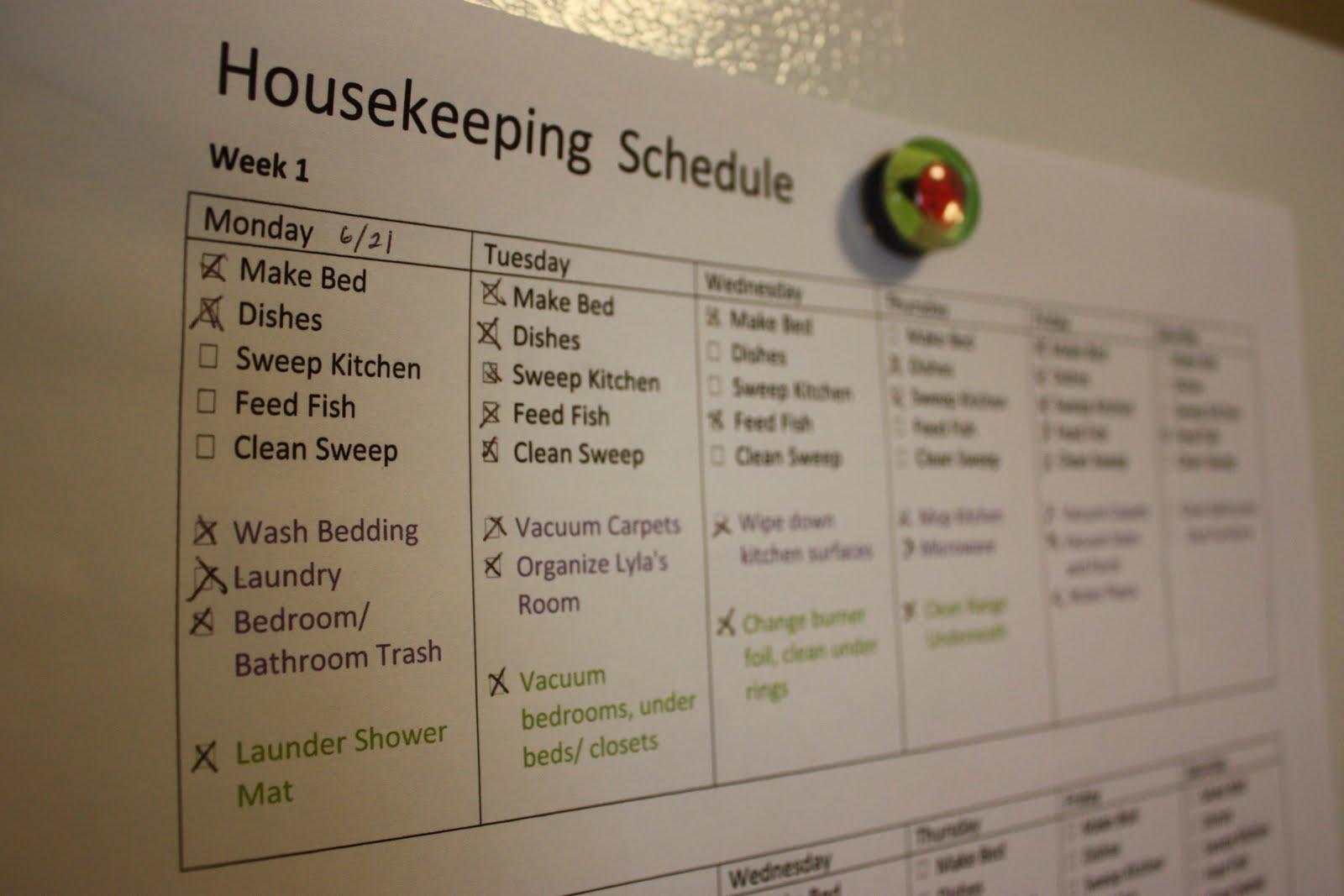 housekeeping schedule