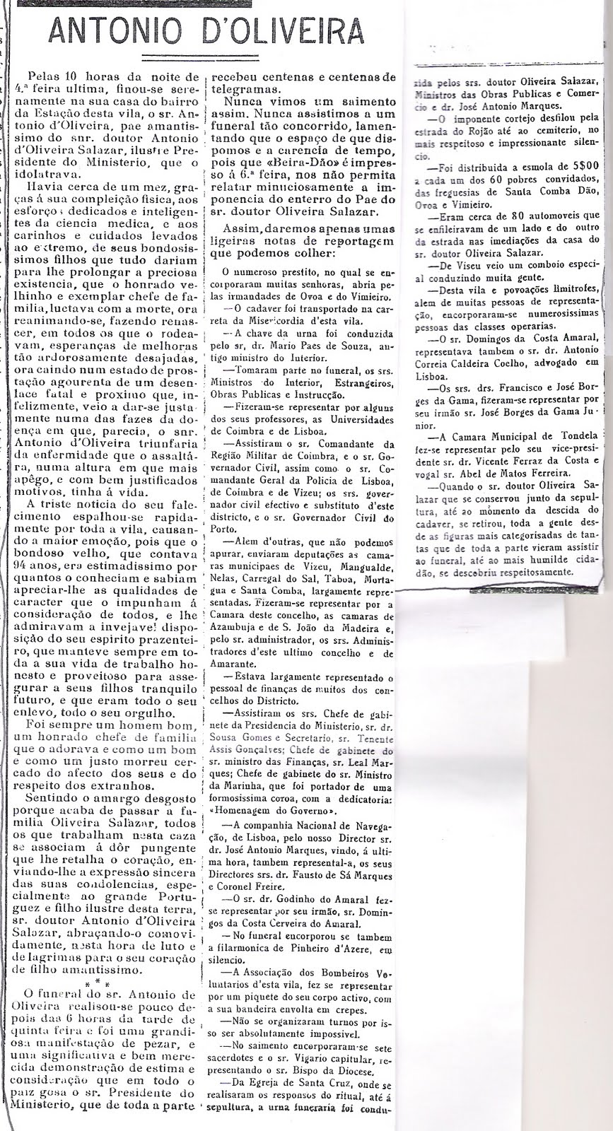Outubro de 1932, notica da morte do Pai do Dr. António Oliveira Salazar
