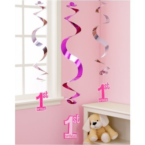 World of party supplies baby girl 39 s 1st birthday hanging for Baby girl first birthday party decoration ideas