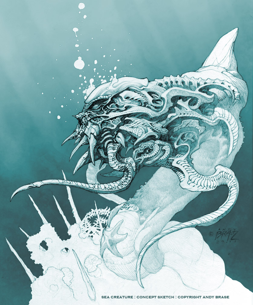 Pencil drawings of sea creatures