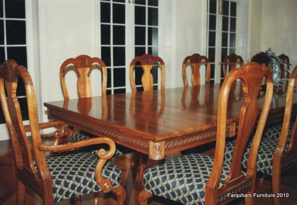 Farquhar 39 S Furniture Queen Anne Blackwood Hand Carved Dining Table And C