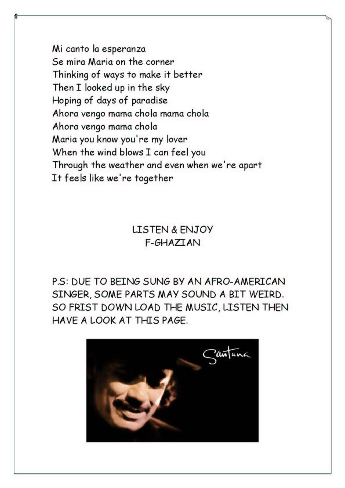 Carlos Santana Lyrics