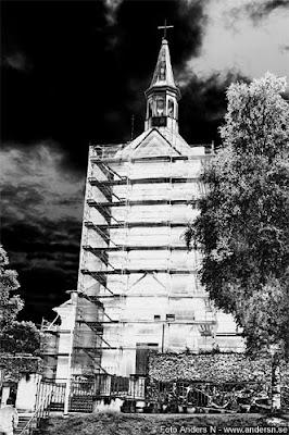 Bankeryds kyrka Bankeryd kyrka byggnadsställning renovering reparation foto anders n