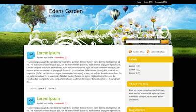 2 Columns Edens Garden Blogger Template