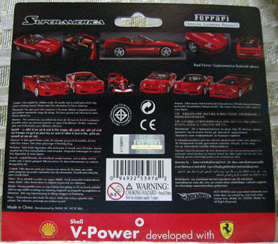 The Back Side of the Packaging of the Shell-Ferrari Toy Cars