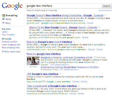 Google's new search result page layout May 5, 2010