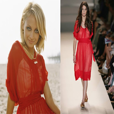 Nicole Richie in a red dress from Kenneth Cole's spring 2006 collection
