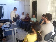 Reunião com os estagiários de psicologia e serviço social