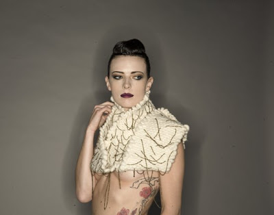Macarena Rosas Parsons thesis cream knit neckpiece with chains @ Dream Sequins