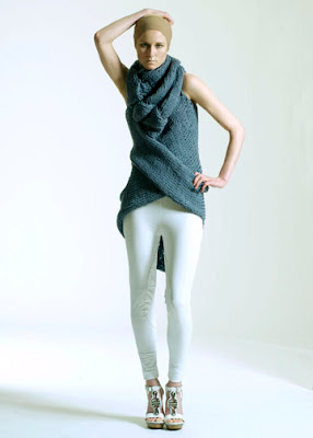 Lauren Jennings Parsons thesis grey chunky knit sweater and white leggings @ Dream Sequins