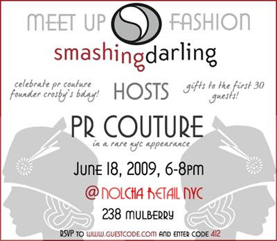 Flyer for Meet Up Fashion: Smashing Darling hosts PR Couture at Nolcha Retail NYC @ Dream Sequins