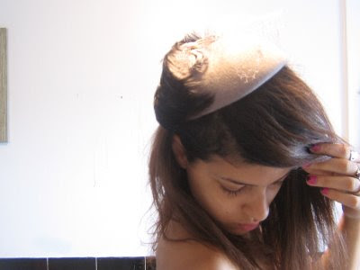 Emma from All In Your Innerspace modeling a vintage hat @ Dream Sequins