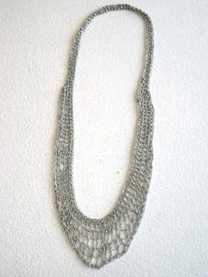 Silver Crochet Lattice Collar Necklace by Arielle de Pinto from Stand Up Comedy @ Dream Sequins
