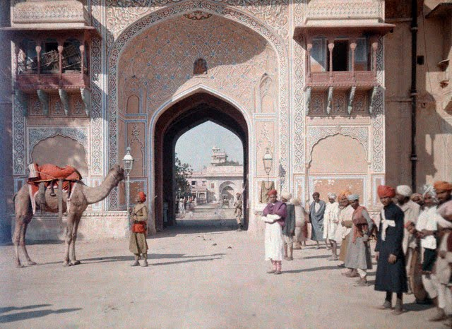 An entrance to the Maharaja's Palace in Jaipur - 1926