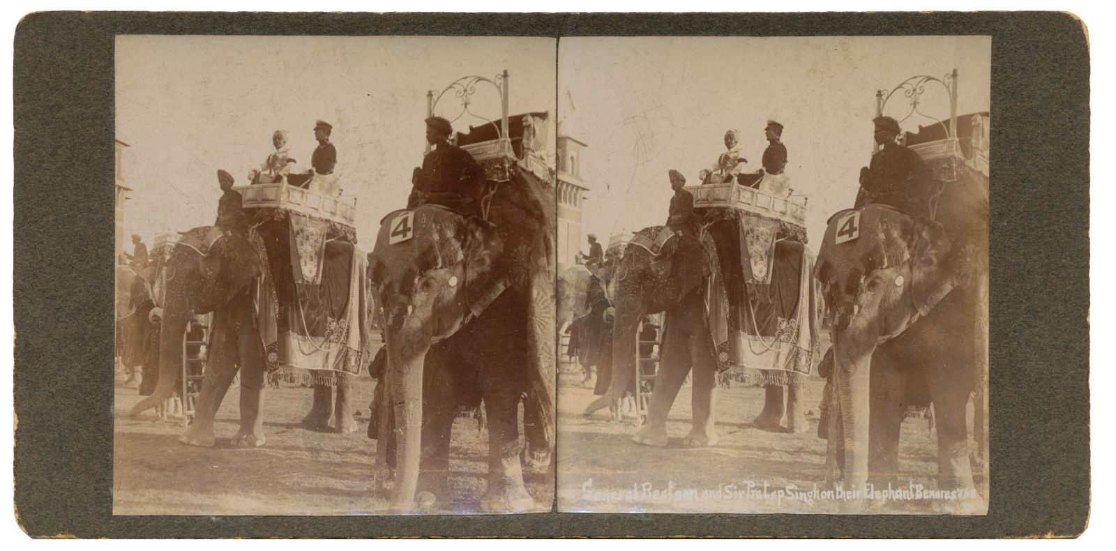 General Beatsan and sir Pratap Singh on their Elephant Beneres