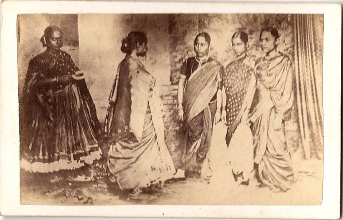 Vintage Photograph of Group of Five Women - India 1875