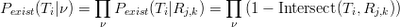 ∏ ∏ Pexist(Ti|ν) = Pexist(Ti|Rj,k) = (1 - Intersect(Ti,Rj,k)) ν ν
