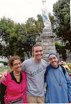 Our daughters, Nancy and Little Sister Hallel/Susan, with John in Lourdes, France.