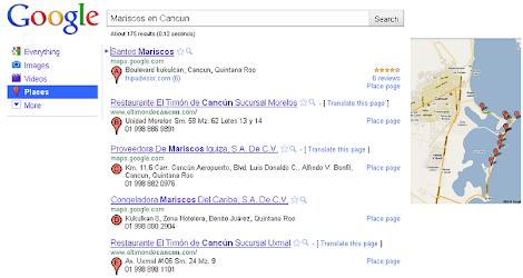 Google Place Search Mariscos en Cancún