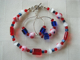 Patriotic Bracelet and Hoop Earrings on Sterling
