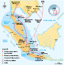 The empire of Srivijaya in Southeast Asia