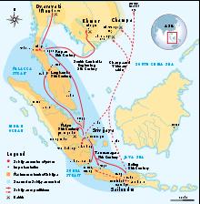 The empire of Srivijaya in Southeast Asia