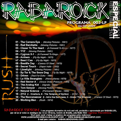 TRACK LIST DO PROGRAMA RABAROCK 003-LP    (RUSH)