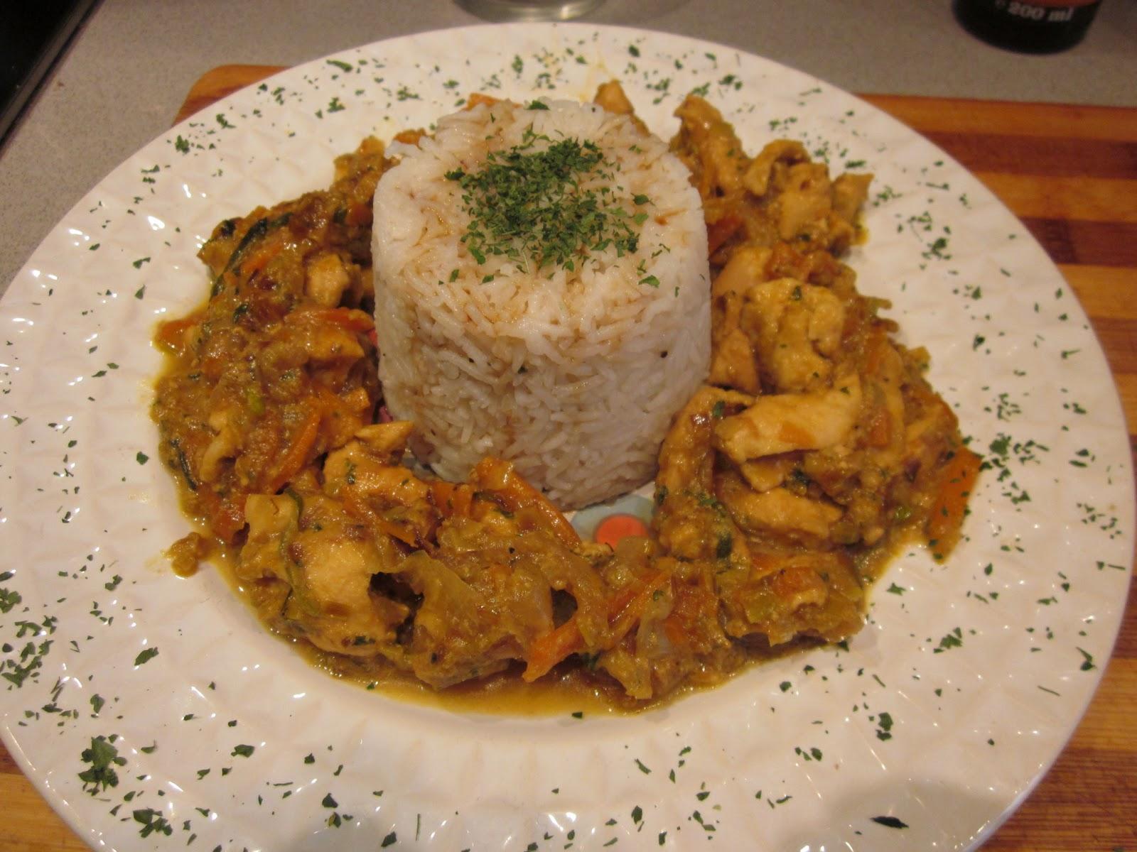 La merluza hermen utica pollo al curry con arroz basmati for Como cocinar pollo al curry