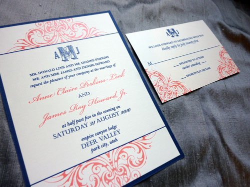 I recently worked with Annie on her coral navy wedding invitations
