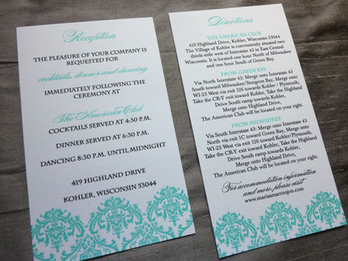 Marisa Jon 39s Tiffany Blue Damask Wedding Invitations. Marva s blog  The design is finished with Tiffany Blue grosgrain