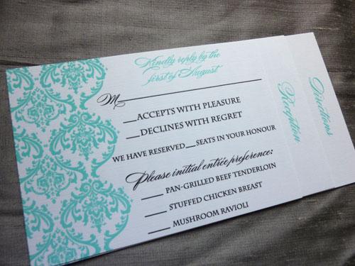 Marisa Jon 39s Tiffany Blue Damask Wedding Invitations