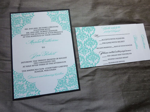 Marisa jons tiffany blue damask wedding invitations blush paperie she chose a beautiful tiffany blue color and black for her colors and had her design thermography printed on white linen stock filmwisefo