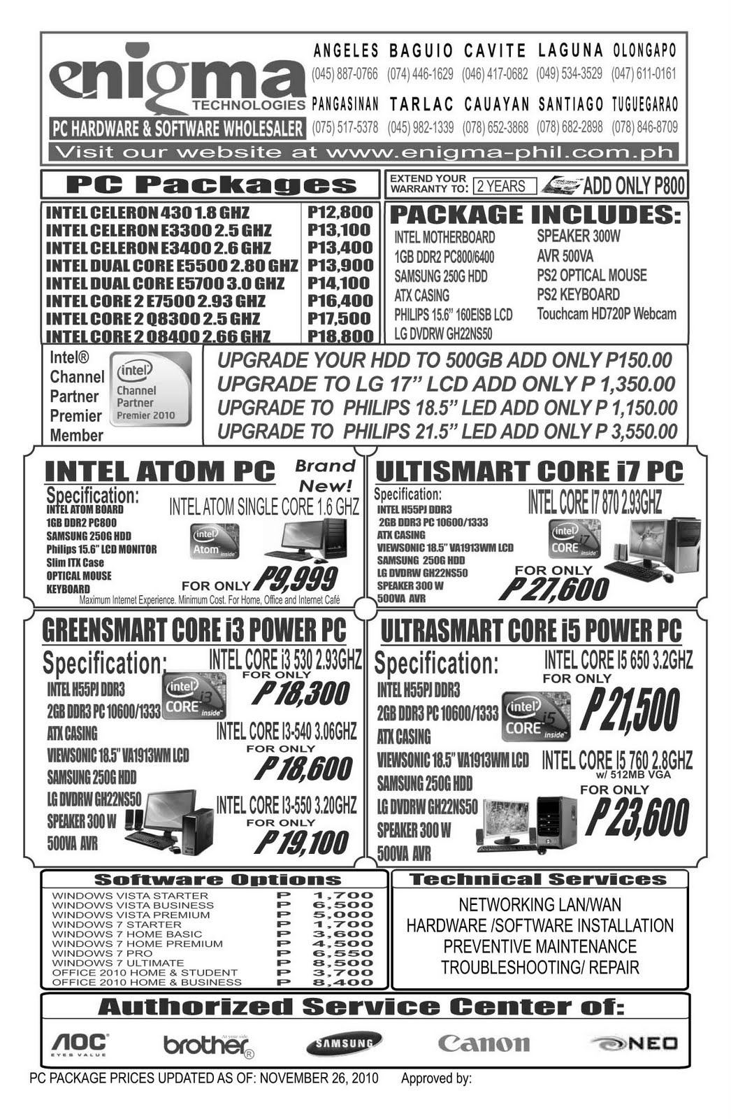 enigma technologies price list able psp