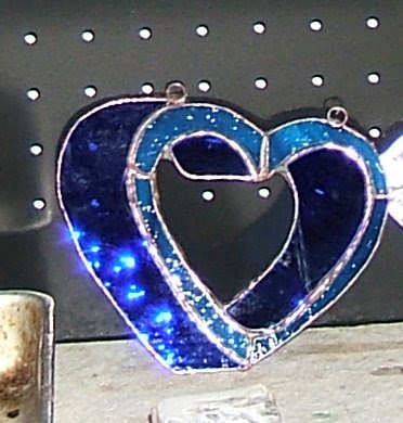 3D blue stained glass heart