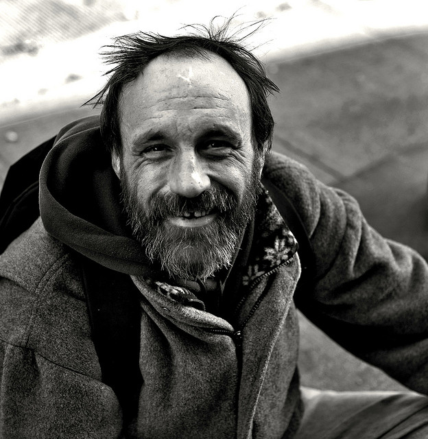 Old Homeless Man Smiling  quot i will be the change i wantHappy Homeless Man