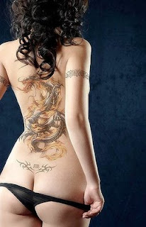 Dragon art tattoo design on sexy girl's backbody