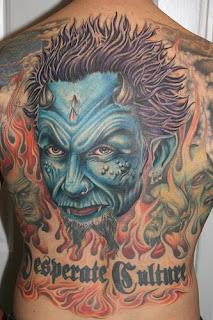 Evil Art tattoo design on full back body