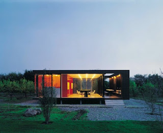 modern small house with lamp lighting
