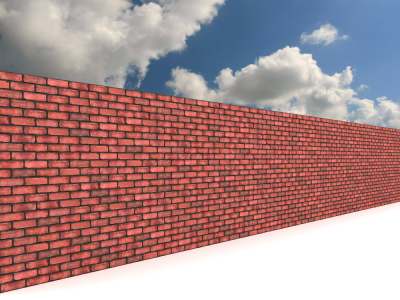 brick wall to clouds