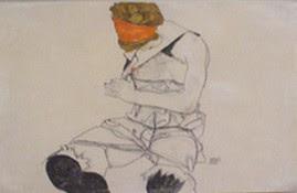Schiele giovane donna seduta