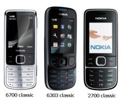 mobiteli Nokia 6700 Classic, Nokia 6303 Classic i Nokia 2700 Classic