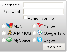 chat AIM, Google Talk, ICQ, MSN, MySpace, Skype i Yahoo! Messenger
