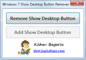 Download besplatni programi Windows 7 Show Desktop Button Remover