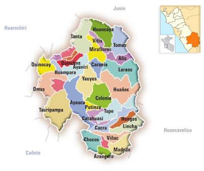 Mapa provincia de Yauyos